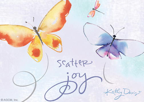 Scatter Joy Kathy Davis Just Because Postcard Blue