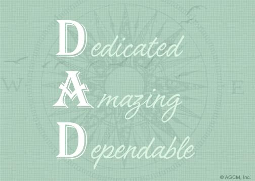 Dad Acrostic Poem Fathers Day Postcard Blue