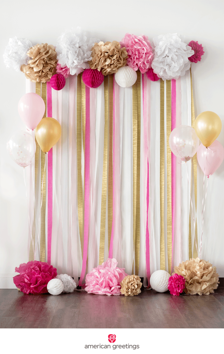 Pom Poms Flowers Birthday Pink And Gold Birthday Party Decorations Balloons Greeting Cards Party Supply Party Decorations