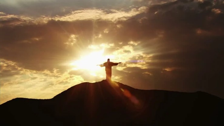 Jesus Silhouette Standing On Hill Stock Footage Video (100 ...