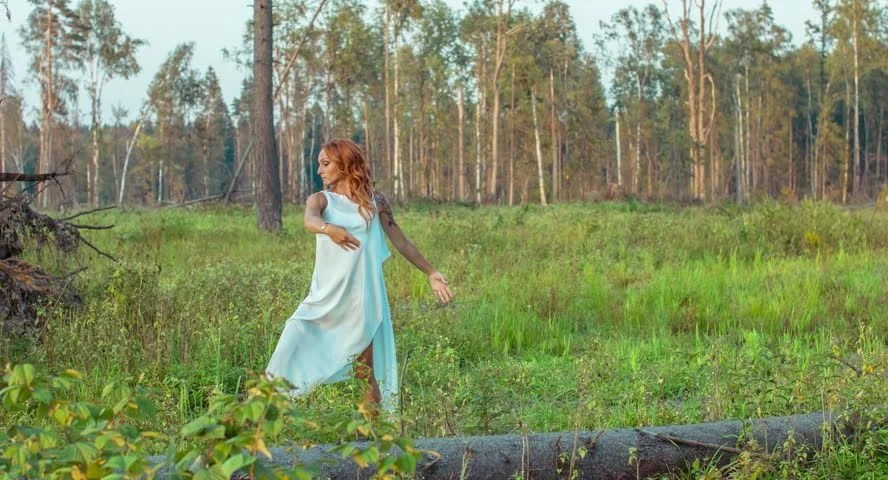 Beautiful Young Princess Bride Walking Through Forest Slow