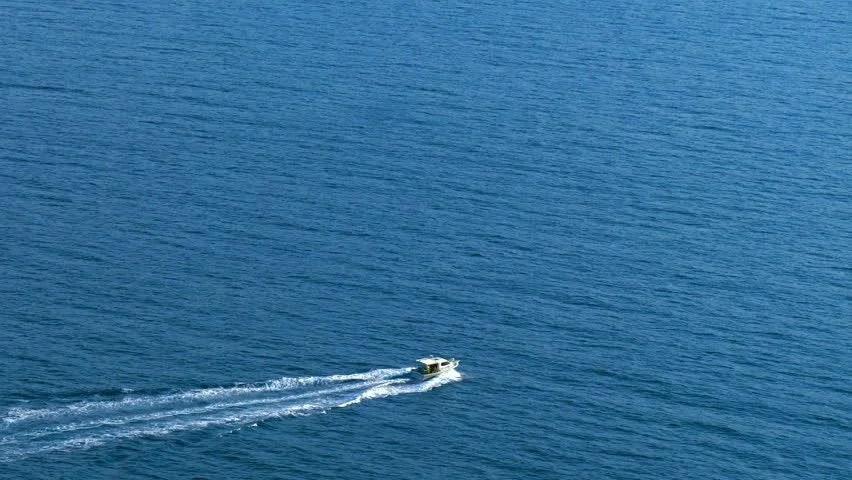 Aerial View Of Luxury Speed Boat Cruising In The Ocean