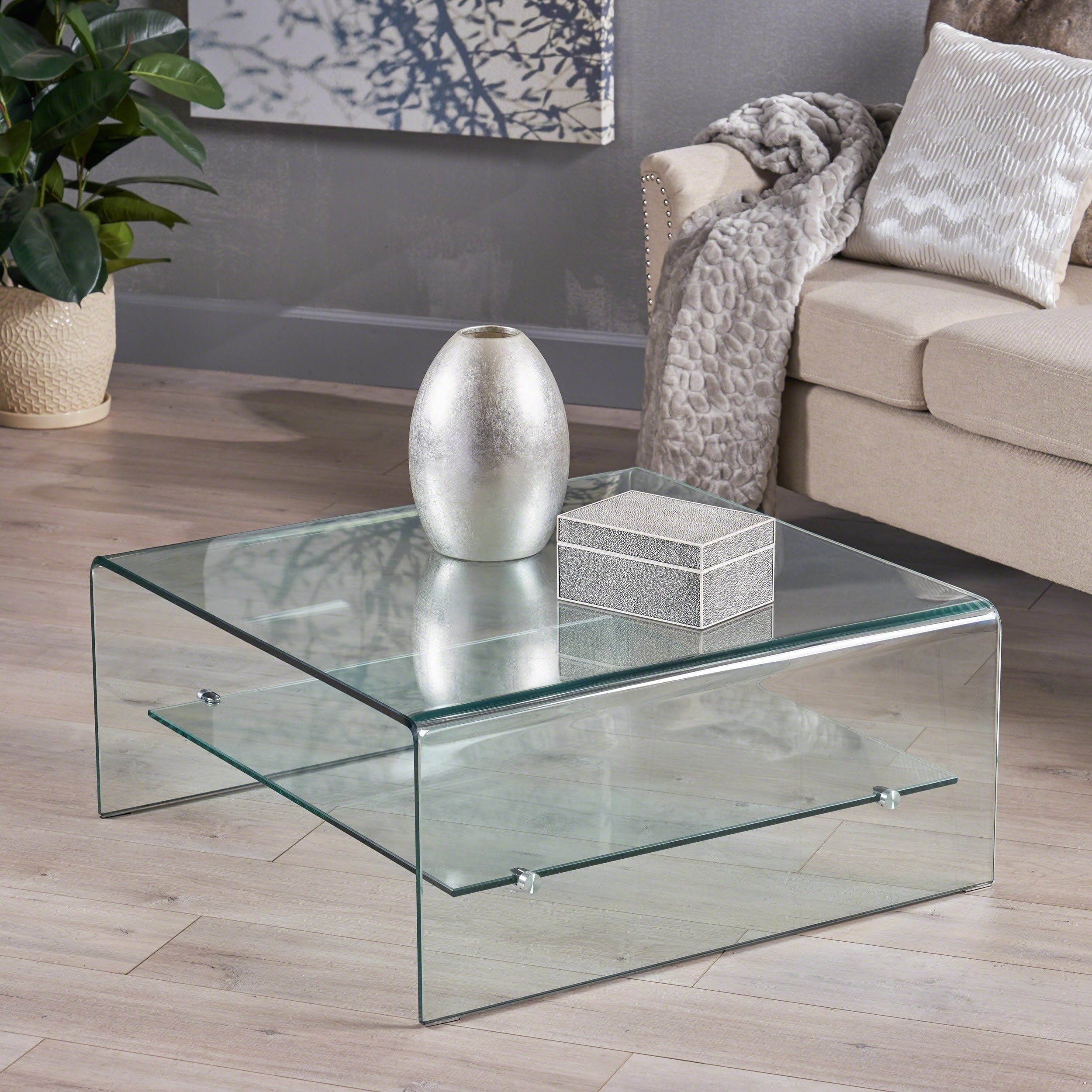 ramona square glass coffee table with shelf by christopher knight home