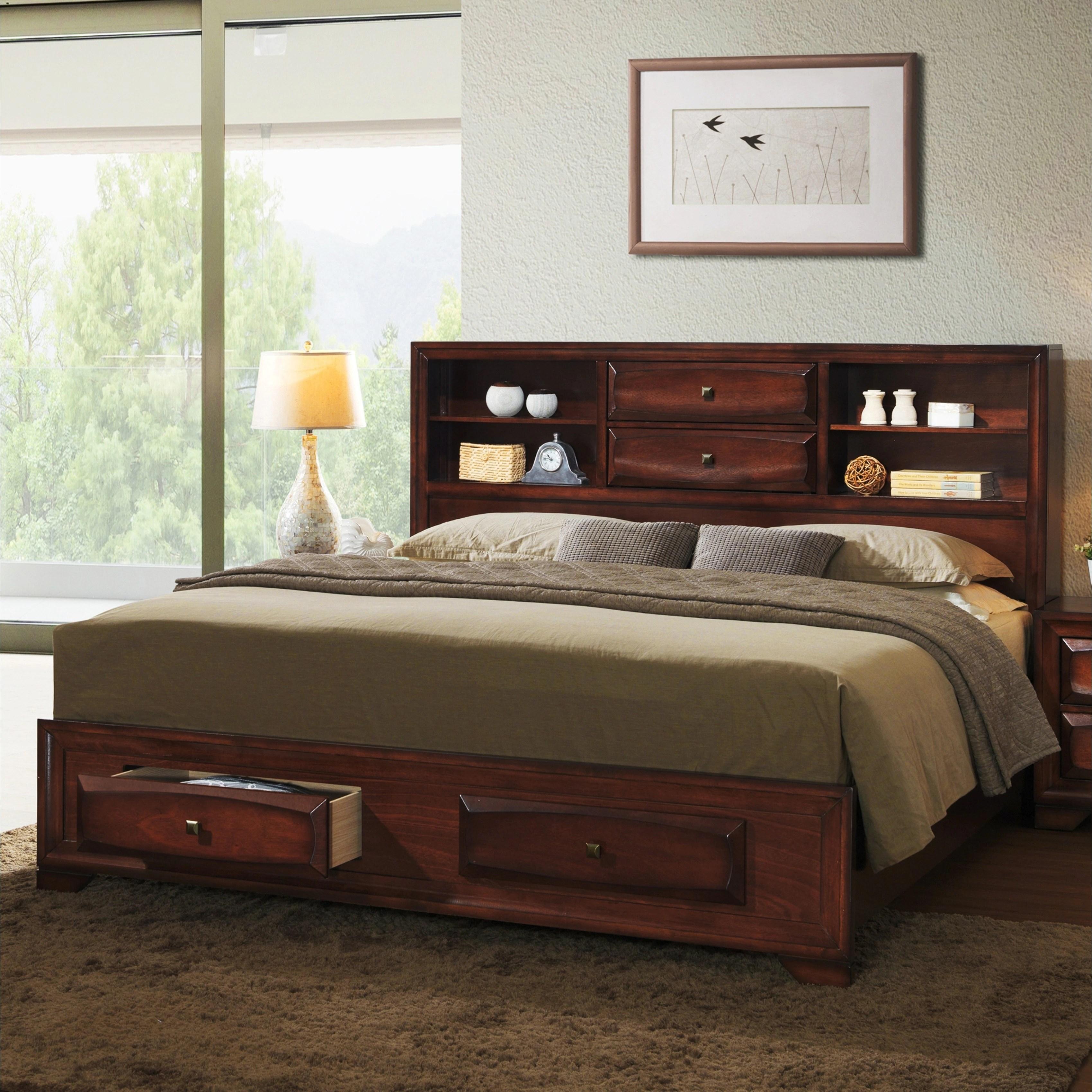 Asger Antique Oak Wood King Size Storage Platform Bed