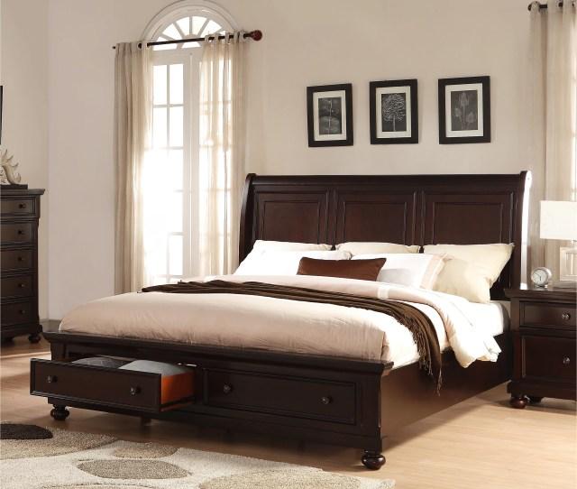 Brishland Rustic Cherry King Size Storage Bed