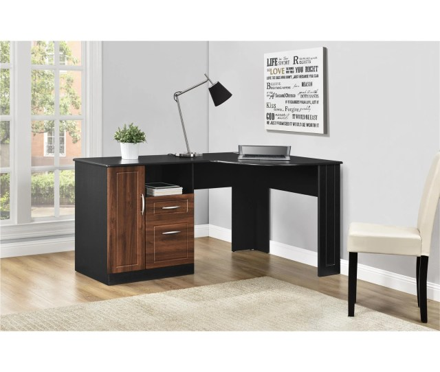 Ameriwood Home Avalon Cherry Black Corner Desk