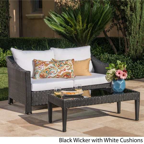 Shop Antibes Outdoor 2 piece Wicker Sofa Set with Cushions by     Shop Antibes Outdoor 2 piece Wicker Sofa Set with Cushions by Christopher  Knight Home   Free Shipping Today   Overstock com   14282342