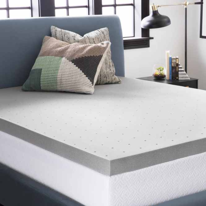 Lucid Comfort Collection 3 Inch Bamboo Charcoal Memory Foam Mattress Topper