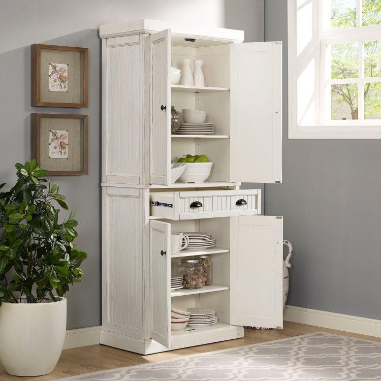 Seaside Distressed White Kitchen Pantry On Sale Overstock 16079510