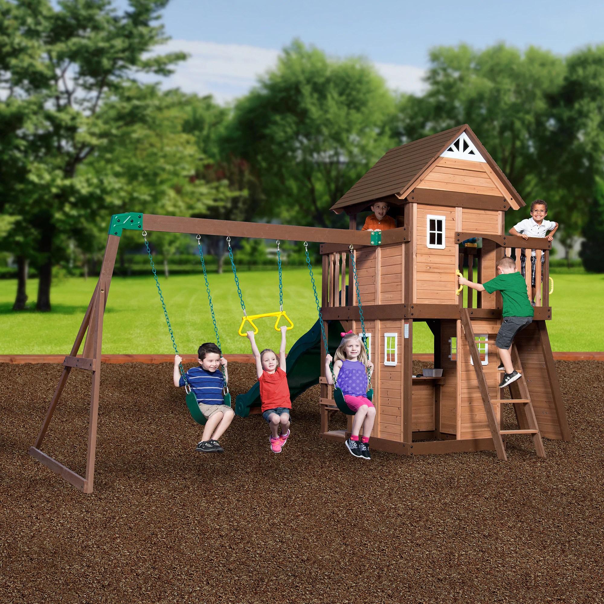 wood reviews discovery set backyard swingset cedar all triumph today swing mount shipping somerset