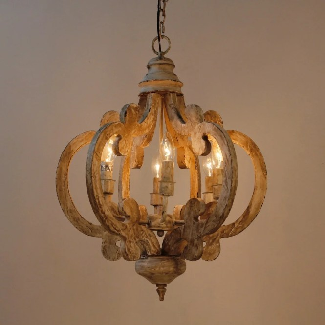 6 Light Distressed Antique White Wooden Chandelier Free Shipping Today 24369477