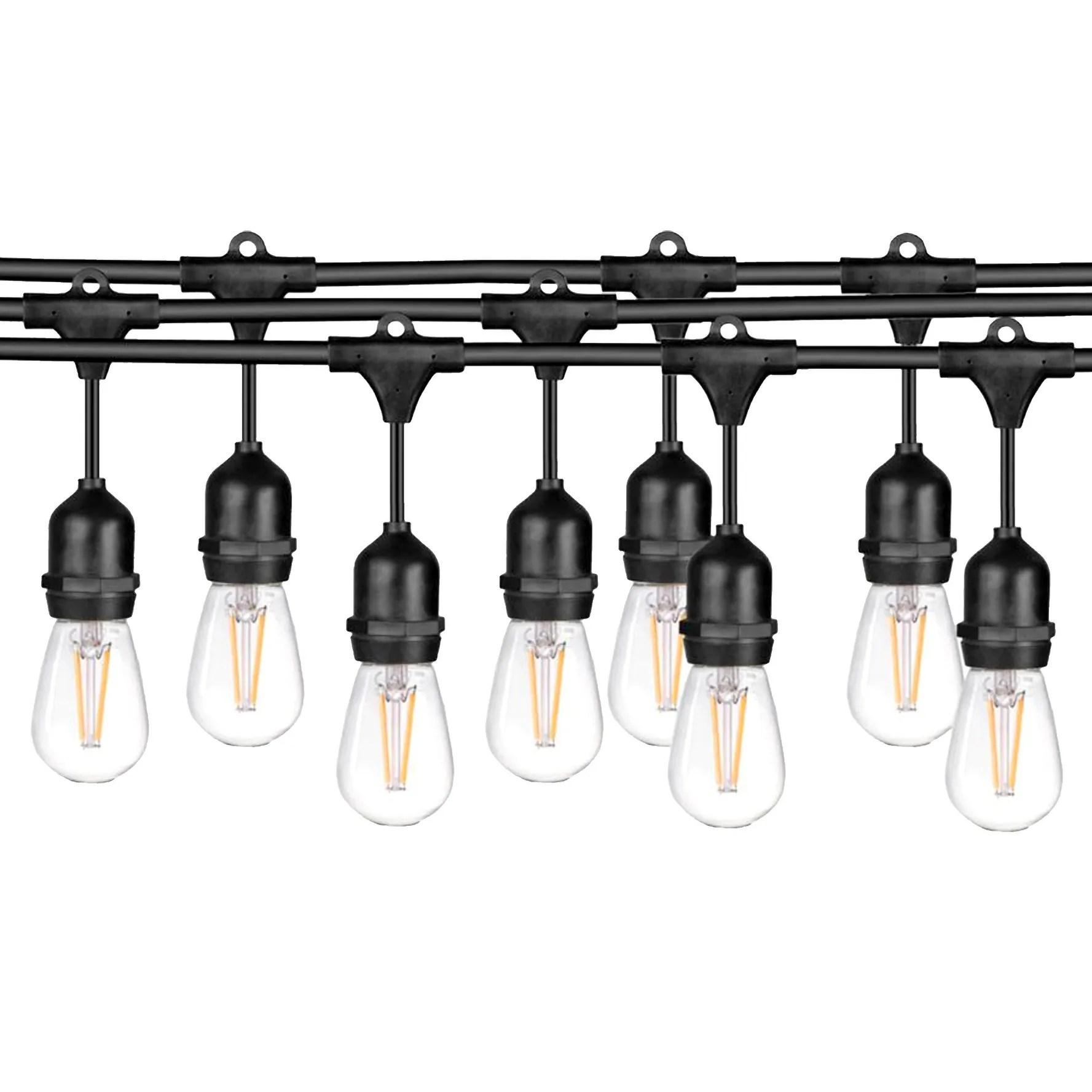 ledpax 48 foot outdoor waterproof 15 light led string lights black 48 foot