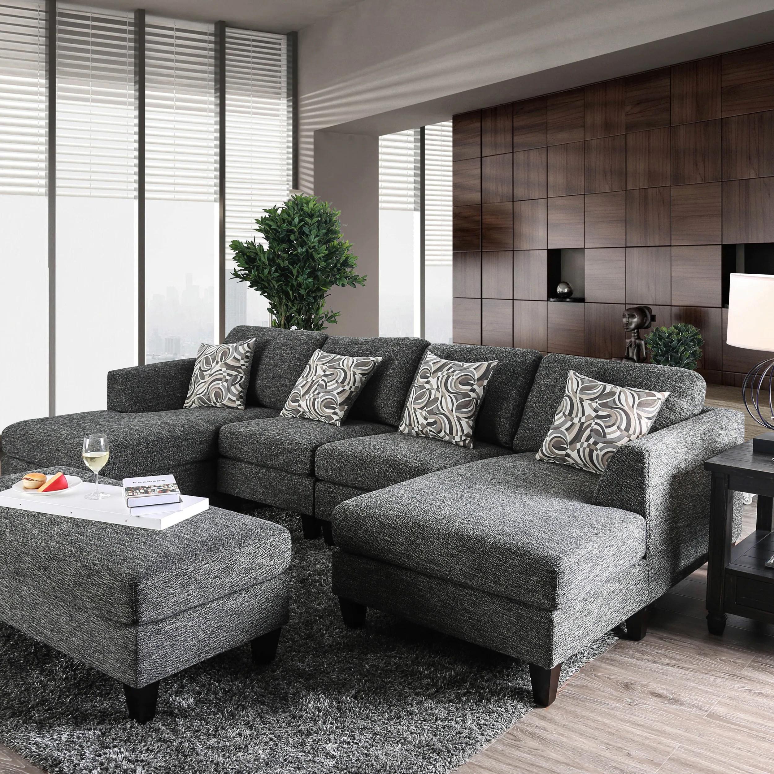 furniture of america lauf modern grey 4 piece modular sectional