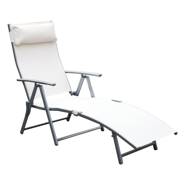 shop outsunny steel sling fabric outdoor folding chaise lounge chair
