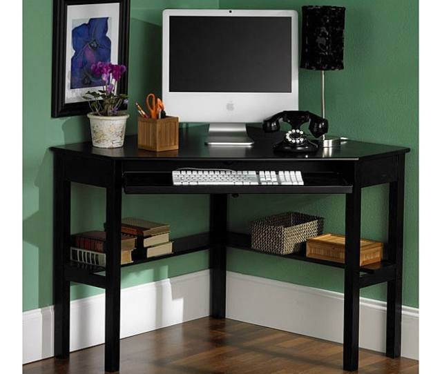 Porch Den Crescent Black Corner Desk
