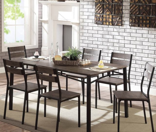 Patton Rustic Antique Brown 7 Piece Dining Table Set By Foa
