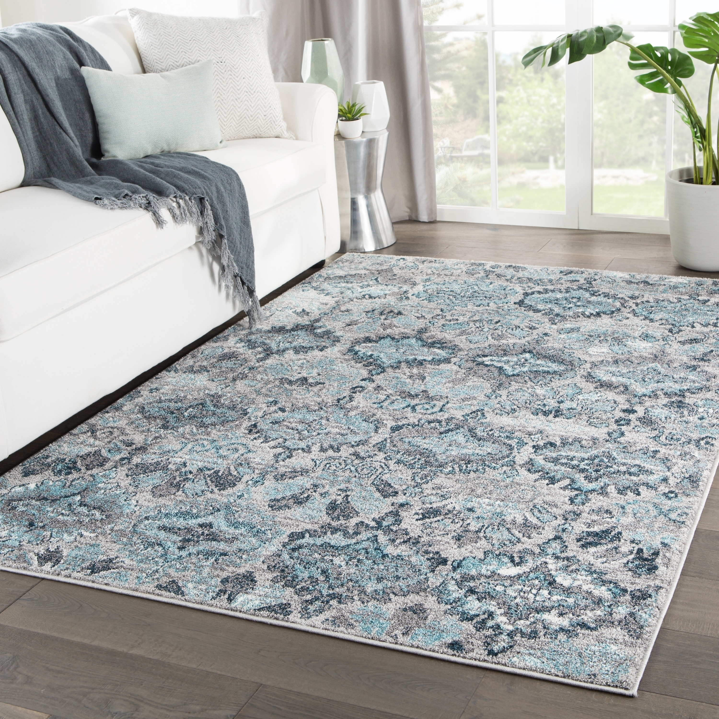 Shop Souta Ikat Gray Turquoise Area Rug 8 10 X12 On Sale Free Shipping Today Overstock 23554251