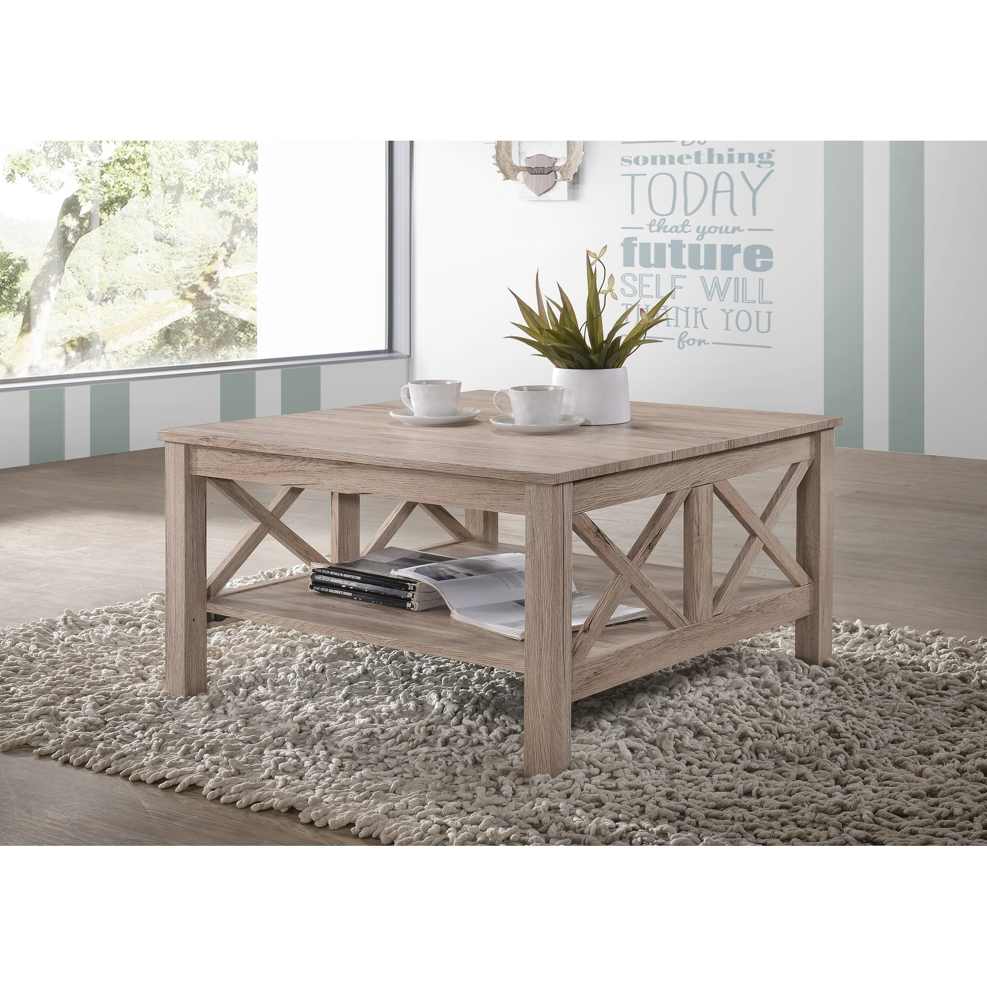 light brown grey wood rustic square coffee table