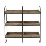 Iron Frame Three Tier Wall Shelf With Six Fir Wood Rectangular Baskets Brown And Black Overstock 26449682
