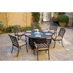 7 Piece Patio Fire Pit Dining Set 60 Inch Round Propane Table With Fireglass Overstock 27326562