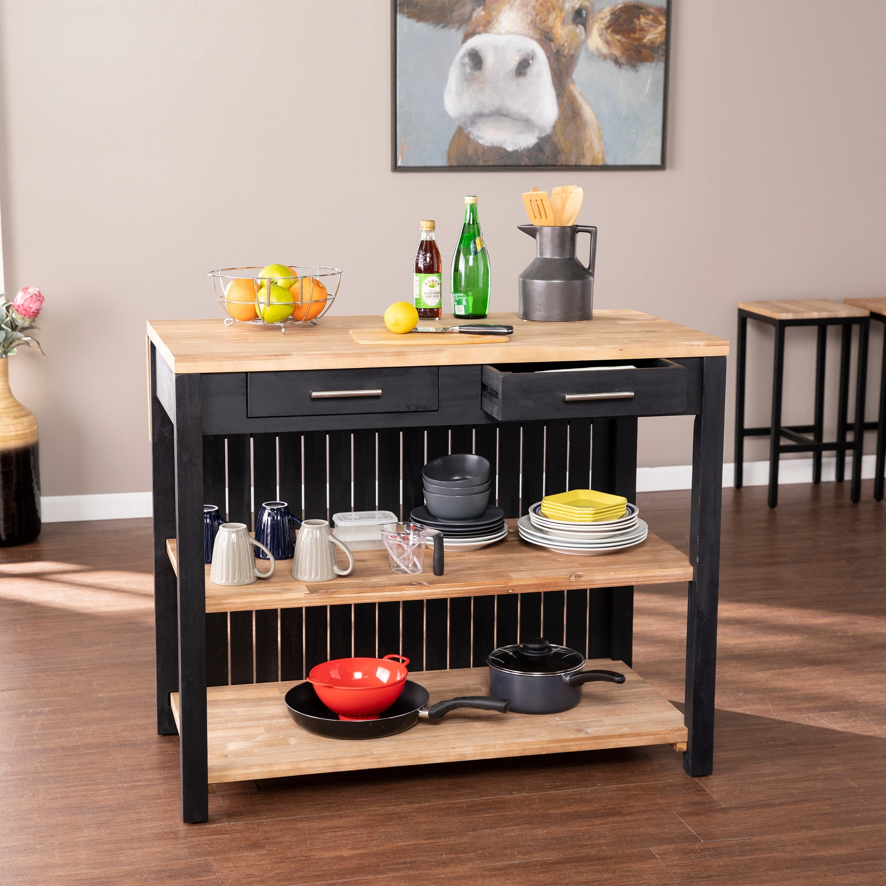 Copper Grove Berhill Transitional Black Wood Expandable Kitchen Island Overstock 30678289