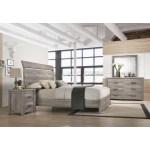 Floren Contemporary Weathered Gray Wood Bedroom Set Panel Bed Dresser Mirror Nightstand Overstock 30933081