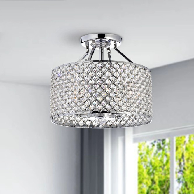 Chrome Crystal 4 Light Round Ceiling Chandelier Free Shipping Today 12645622