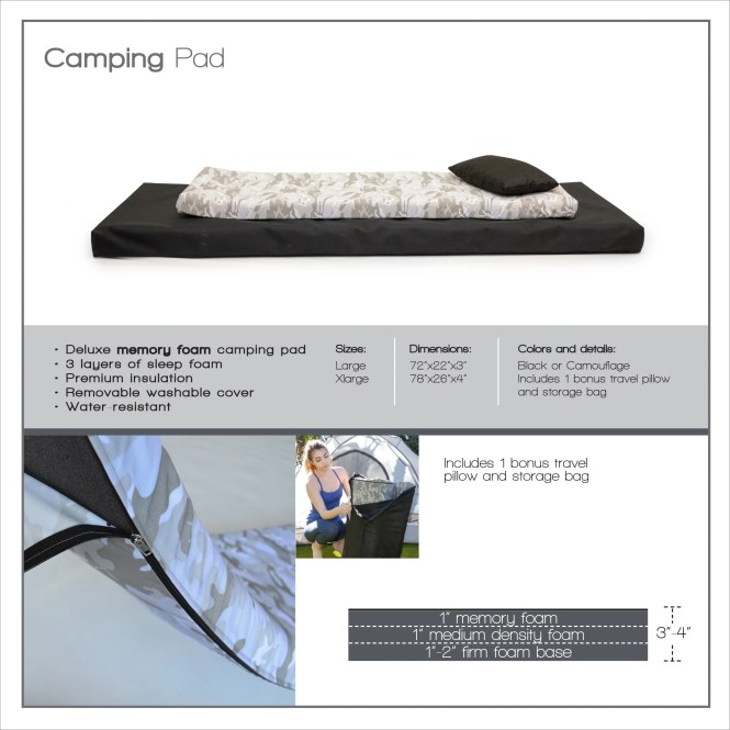 Extra Large Roll N Go Memory Foam Orthopedic Camping Sleeping Pad Free Shipping Today 12979588