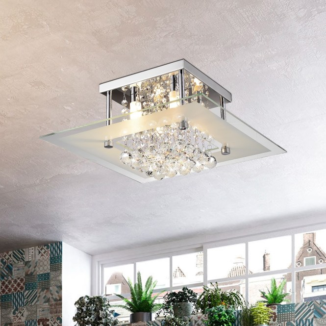Lucia Square Chrome And Crystal Flush Mount 4 Light Chandelier Free Shipping Today 16092288
