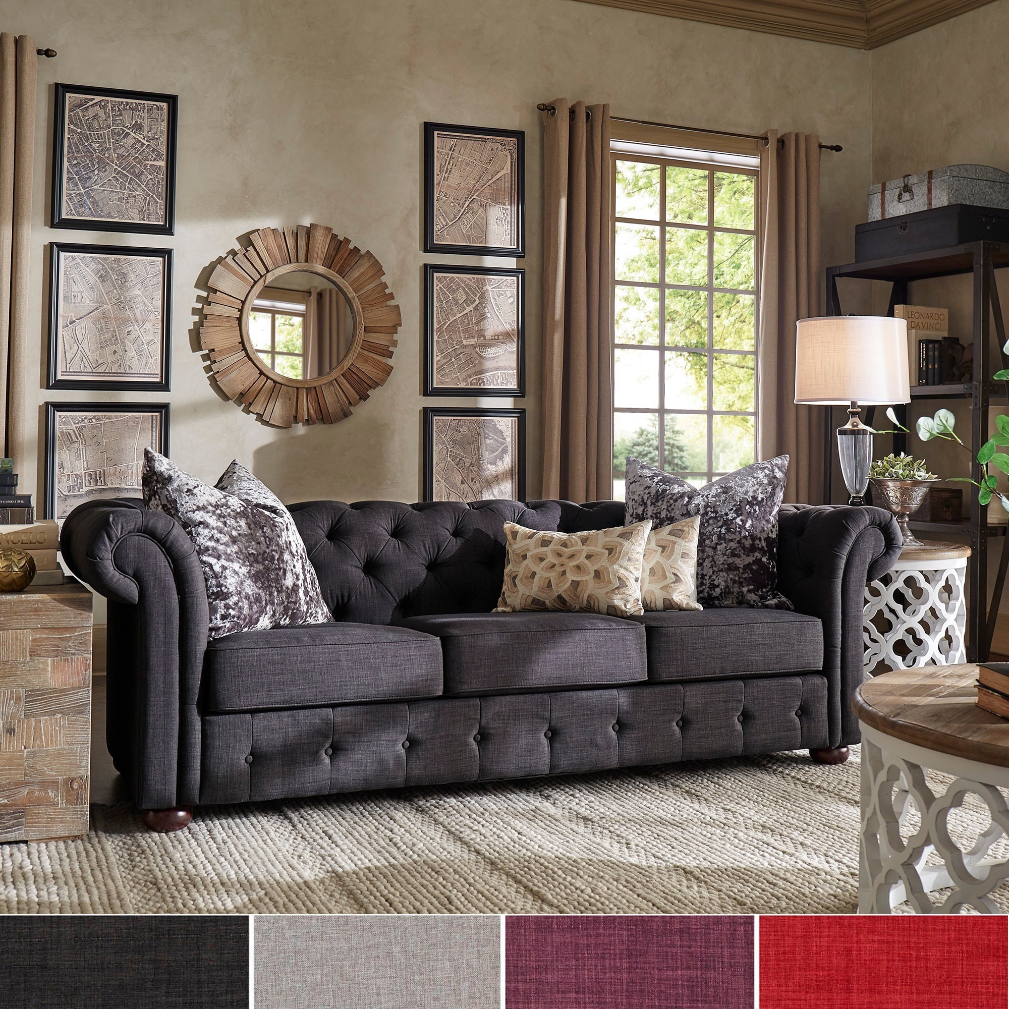 Shop Knightsbridge Tufted Scroll Arm Chesterfield Sofa by iNSPIRE Q     Shop Knightsbridge Tufted Scroll Arm Chesterfield Sofa by iNSPIRE Q Artisan    On Sale   Free Shipping Today   Overstock com   9242312