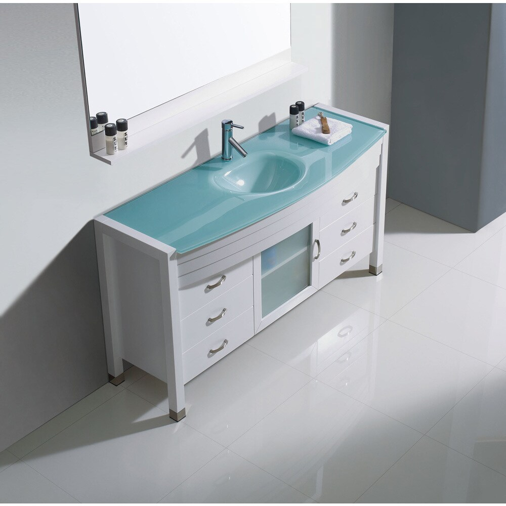 virtu usa ava white 55 inch single bathroom vanity cabinet set