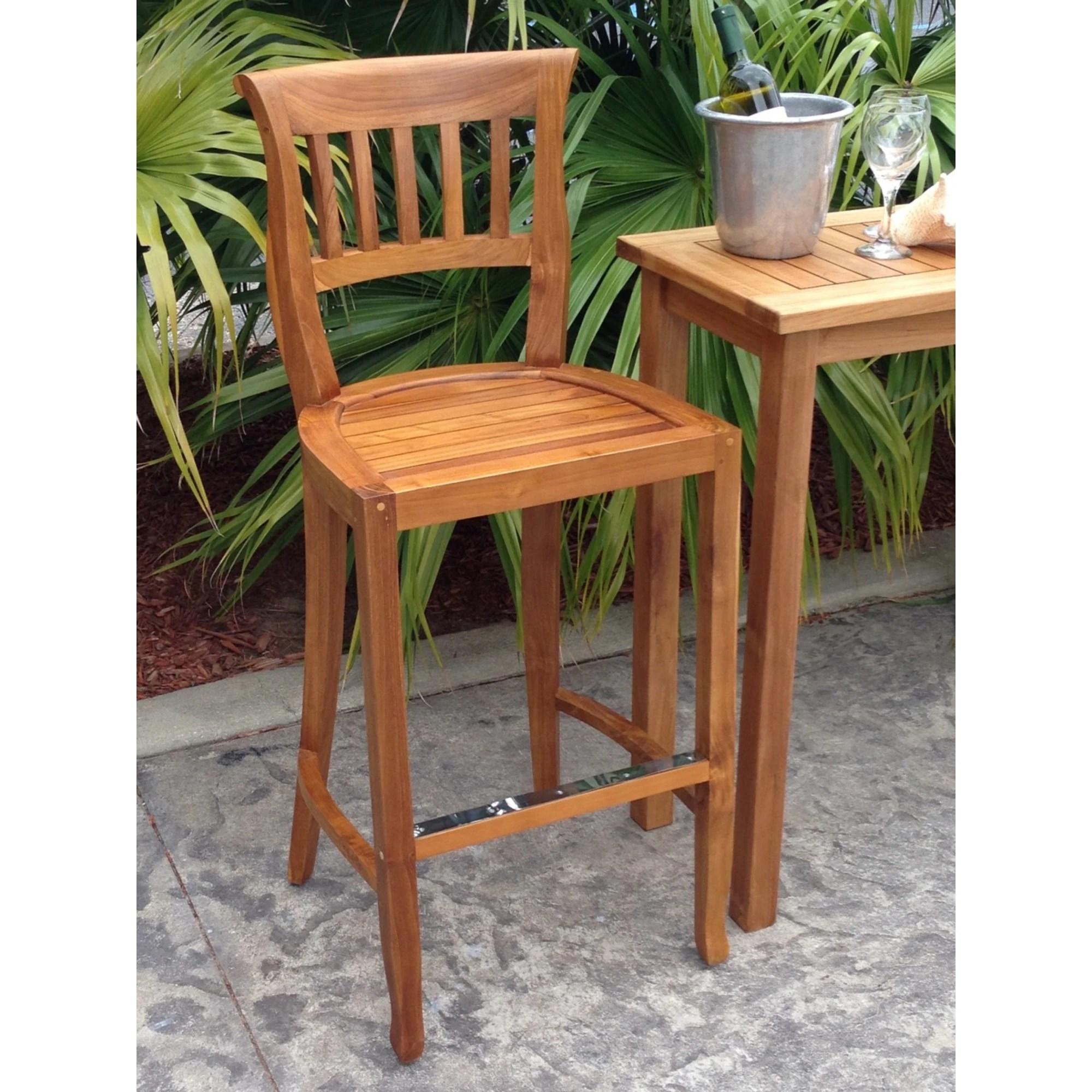 chic teak amsterdam teak wood indoor outdoor bar stool chair