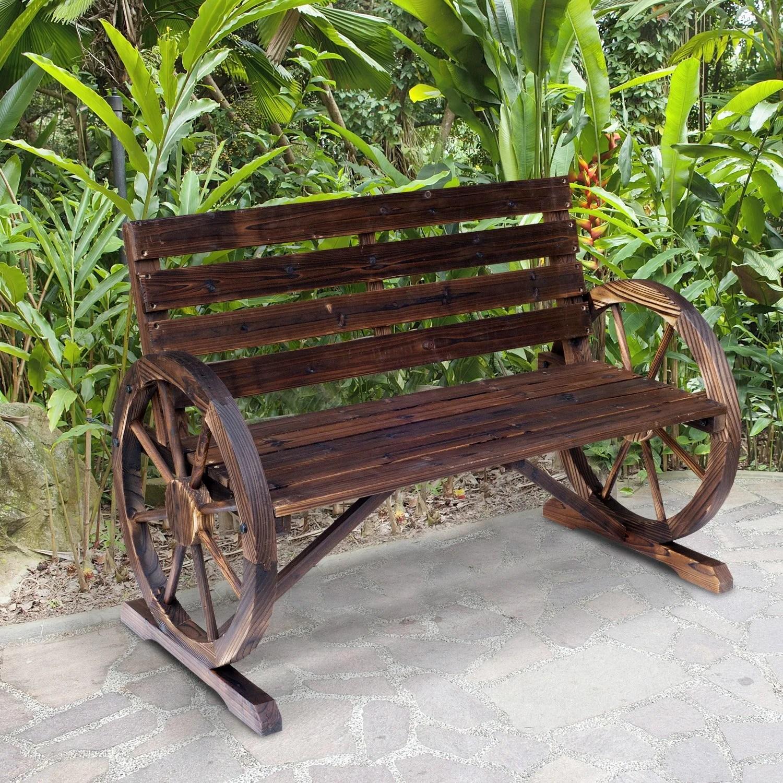 outsunny rustic outdoor patio wagon wheel wooden bench chair for your garden patio or entryway