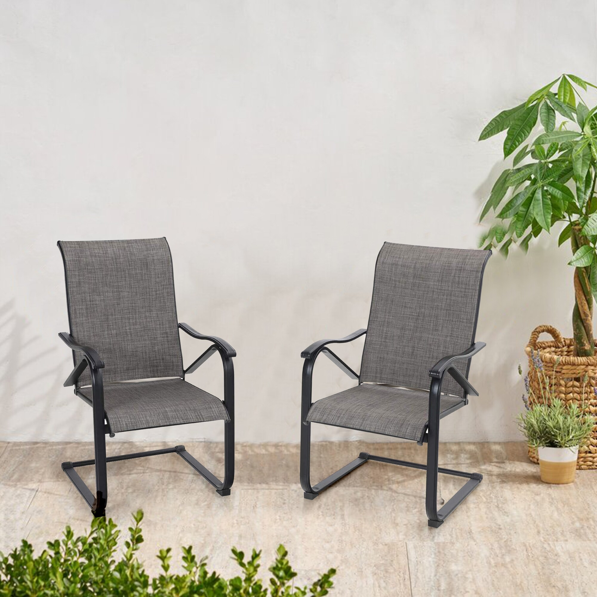 phi villa patio chairs c spring motion textilene metal chairs weather resistant outdoor furniture