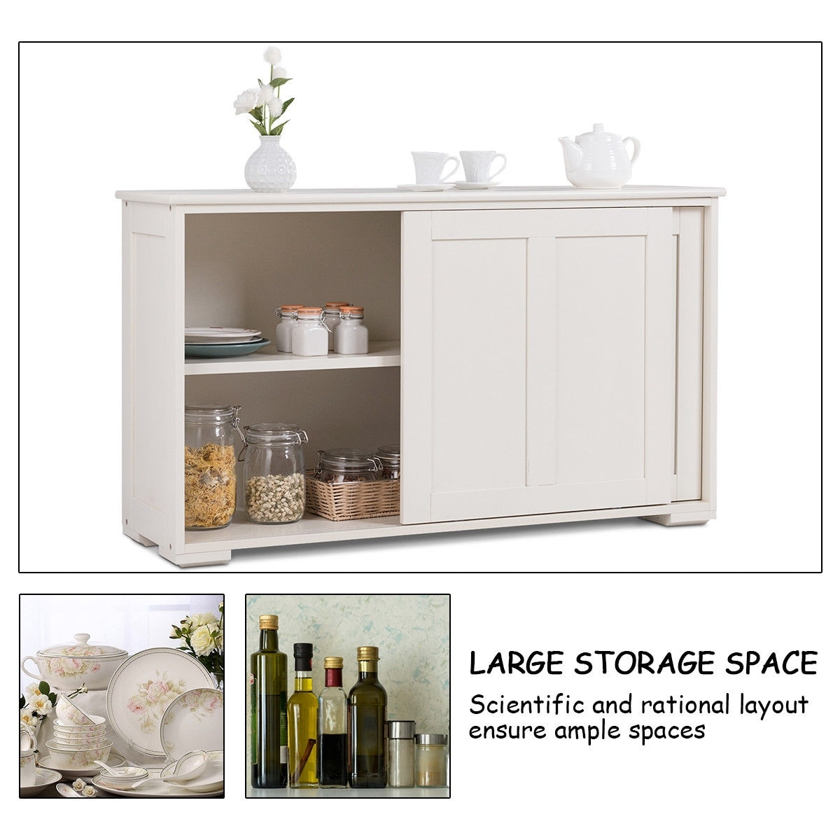 shop costway kitchen storage cabinet sideboard buffet cupboard wood sliding door pantry white free shipping today overstock 25719613