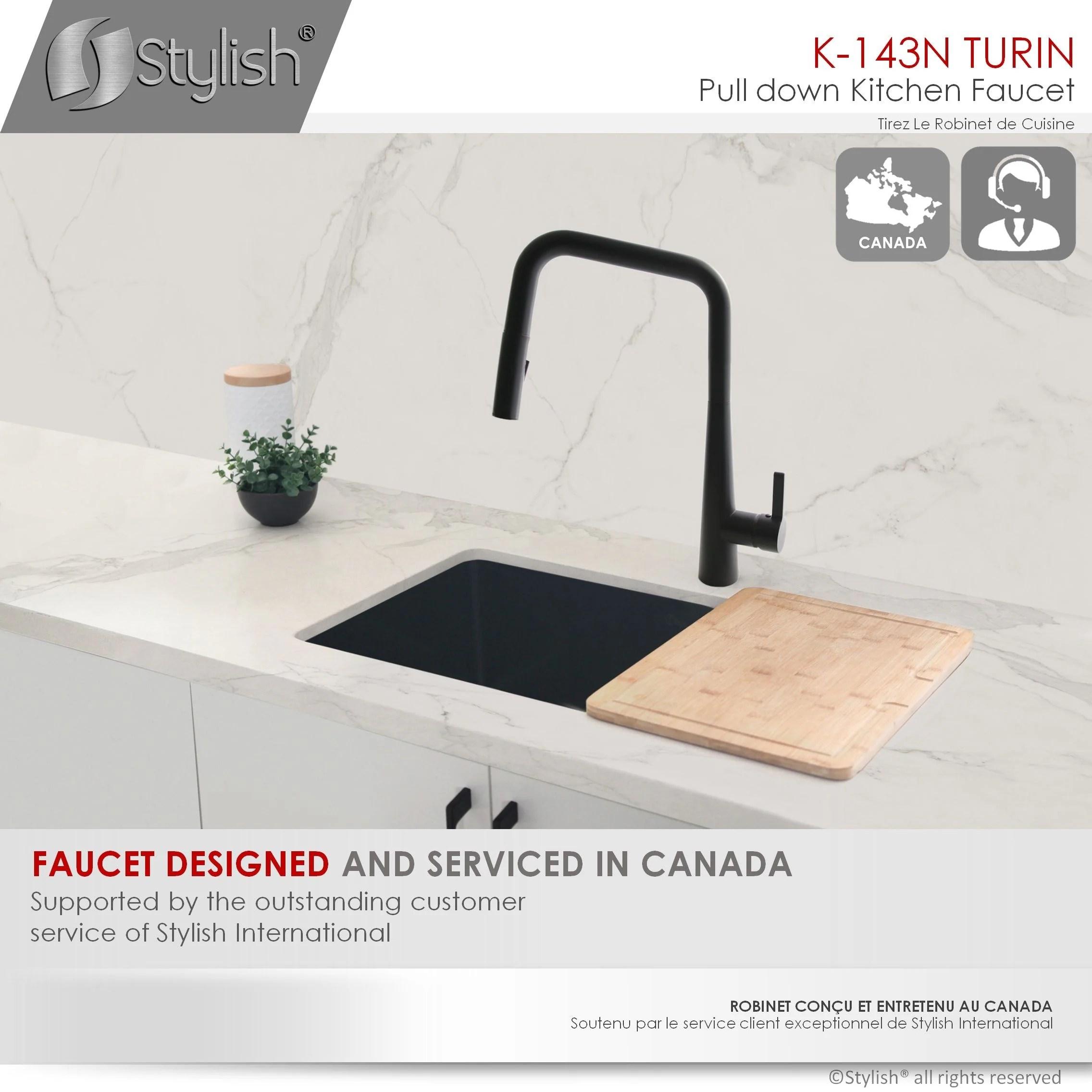 modern single handle pull down sprayer kitchen faucet in matte black gold finish
