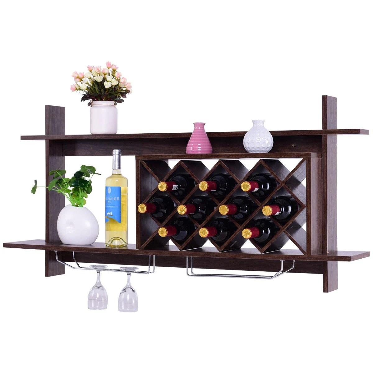 gymax wall mount wine rack organizer with glass holder storage shelf