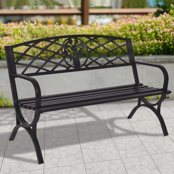 Costway 50   Patio Garden Bench Park Yard Outdoor Furniture Steel     Costway 50   Patio Garden Bench Park Yard Outdoor Furniture Steel Frame  Porch Chair Seat   Free Shipping Today   Overstock   23045756