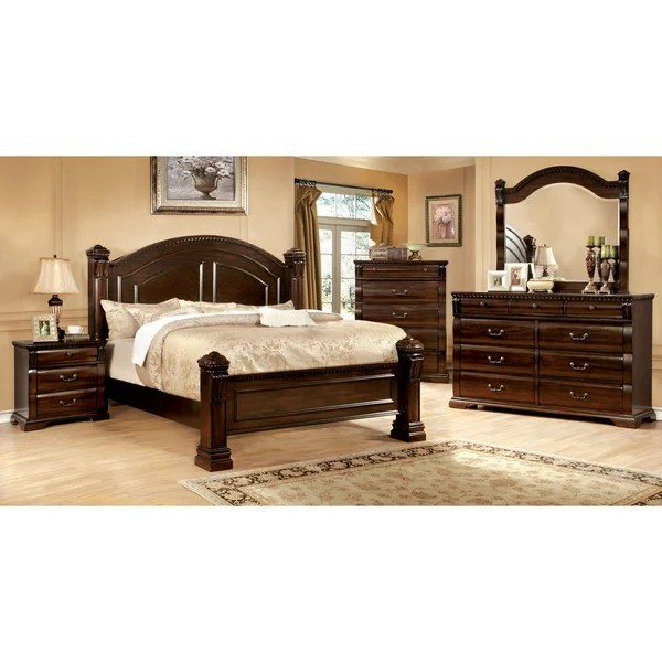 furniture of america tasine cherry 4-piece poster bedroom set
