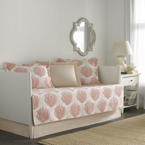 Shop Laura Ashley Coral Coast Coral 5 Piece Quilted Daybed
