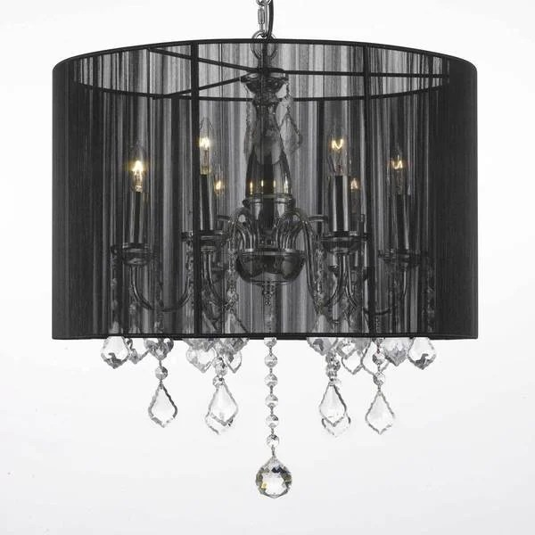 Contemporary 6 Light Chandelier With Crystals And Large Black Shade