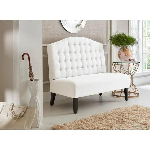 Shop Ivory Tufted Upholstered Banquette Bench On Sale
