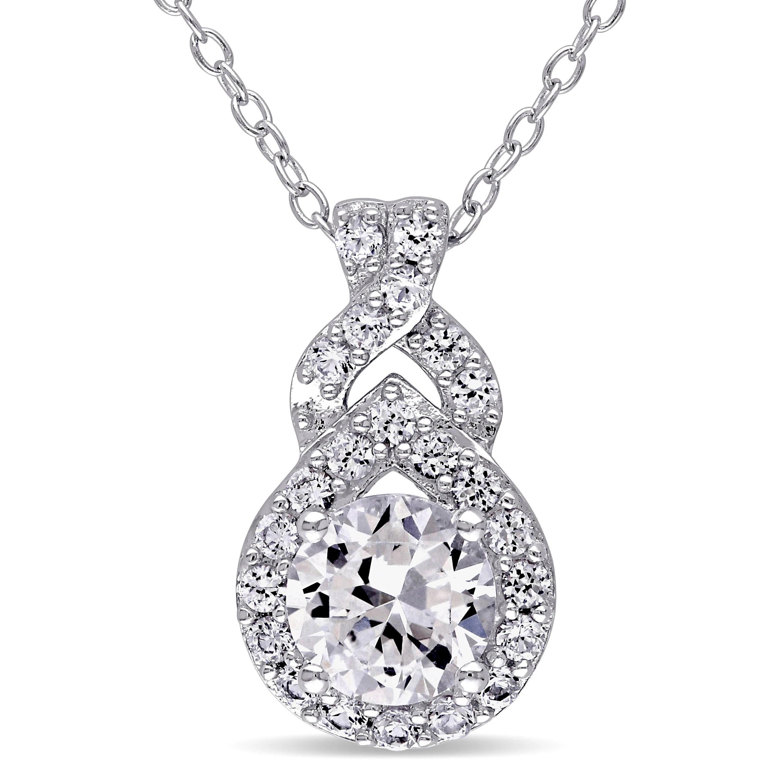 Miadora Sterling Silver Created White Sapphire Drop