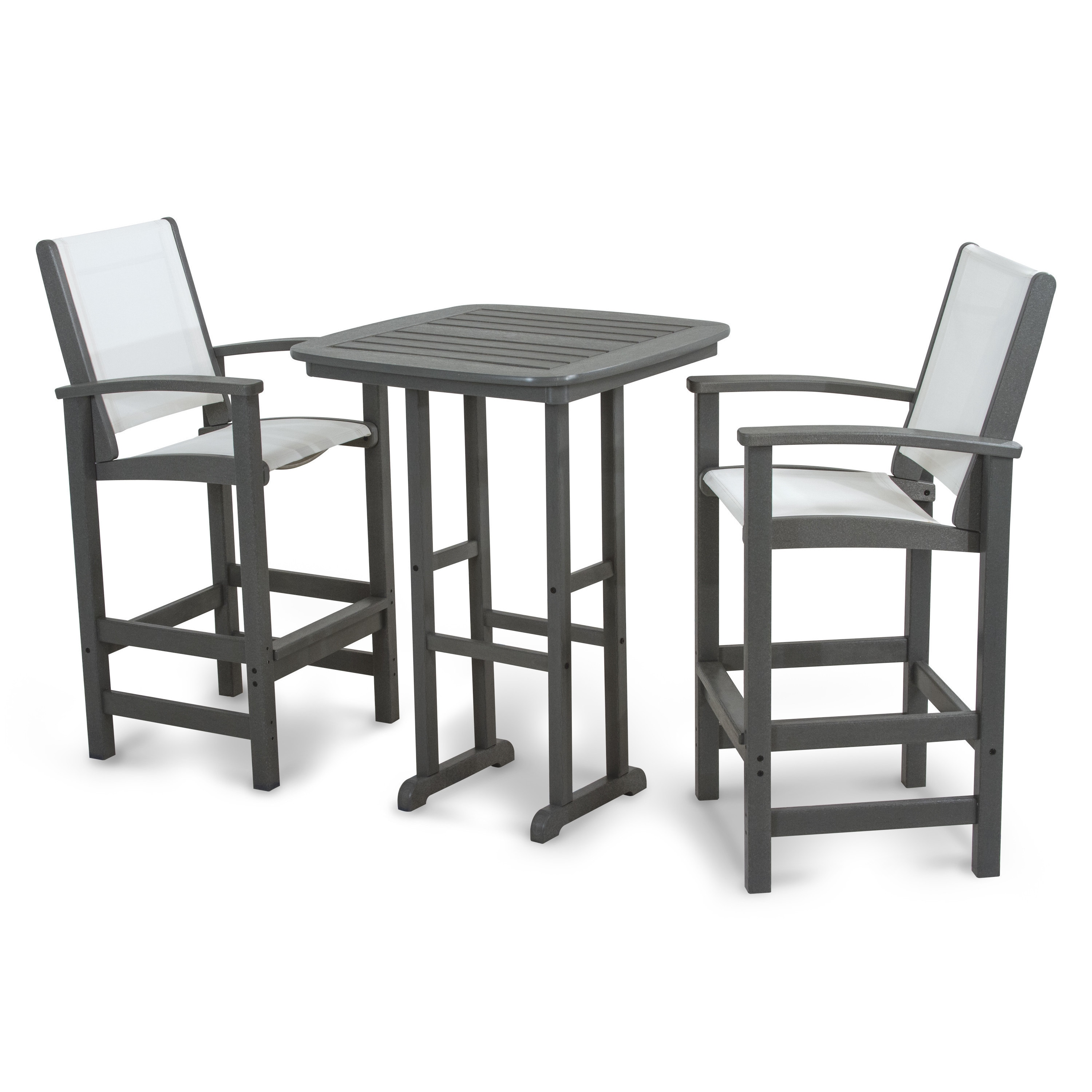 Polywood Coastal 3 Piece Outdoor Tall Bar Set With Table Overstock 10084908