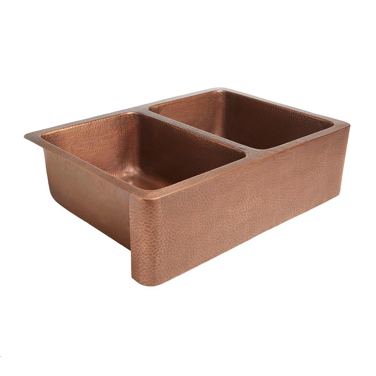 sinkology rockwell farmhouse apron front double bowl 33 copper sink