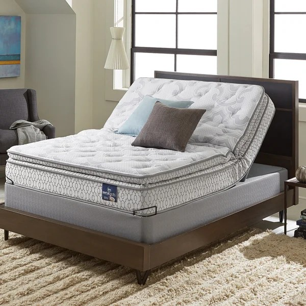 Serta Extravagant Plush Pillow Top Queen Size Mattress Set With Elite Pivot Adjule Foundation Click To Zoom