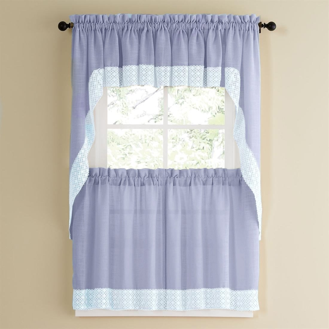 Blue Country Style Kitchen Curtains With White Daisy Lace Accent Overstock 10195262