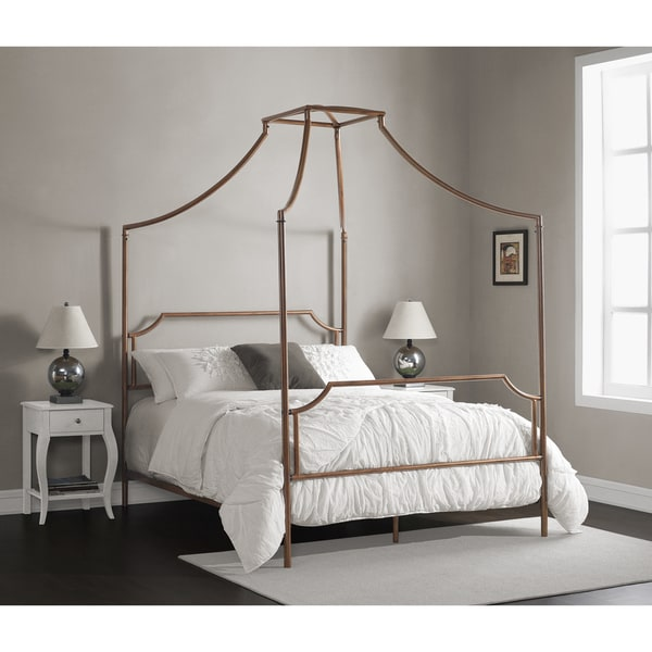 the curated nomad bailey brushed dark copper colored full size canopy bed