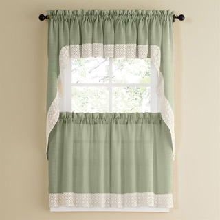 Cottage Ivy 36 Inch Tier Curtain Swag Set Free Shipping