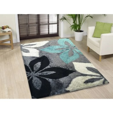 Shop Hand tufted Turquoise and Grey Shag Area Rug   5  x 7    On     Hand tufted Turquoise and Grey Shag Area Rug   5  x27  x 7